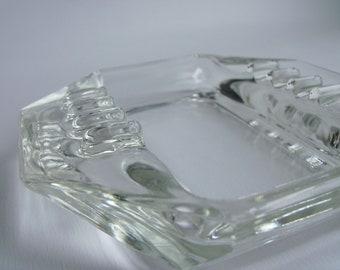 Retro Clear Glass Octagon Ashtray