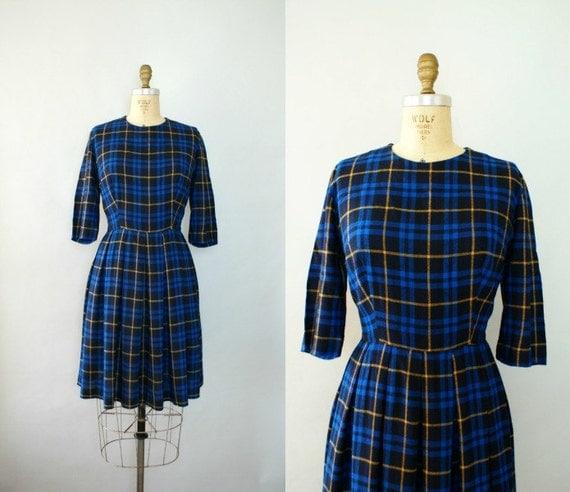 Vintage 1950s Autumn Blues Dress -  50s Day Dress - Medium Large