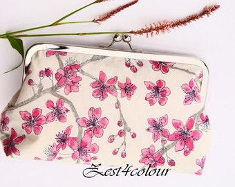 Bridal clutch/ evening purse/ silver frame/ Liberty cotton/ delicate pink flowers