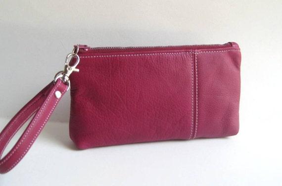 Wristlet in Raspberry Pink Geniune Leather