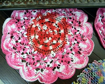 Assortment of 3 Colorful Vintage Crocheted Doilies 7942