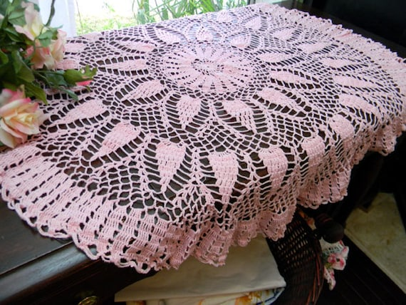 Table Topper - Small Tablecloth or Crocheted Centerpiece in Pink 7851