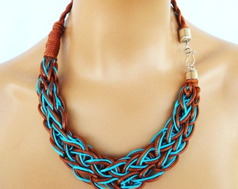 Rope Necklace, Braided Necklace, Color Block Statement Necklace in Brown and Turquoise, Party Bling