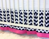 Crib Skirt- Navy and White Chevron with Pink Border with Ruffles - MADE TO ORDER
