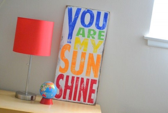 You Are My Sunshine Sign Typography Word Art in Rainbow Colors Nursery Wood Sign