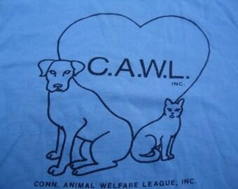 vintage tshirt CT ANiMAL WeLFARE LeAGuE CaWL cat dog rescue shirt MEDIUM
