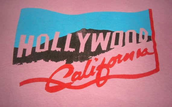 vintage tee HOLLYWOOD CALIFORNIA T Shirt pink tshirt
