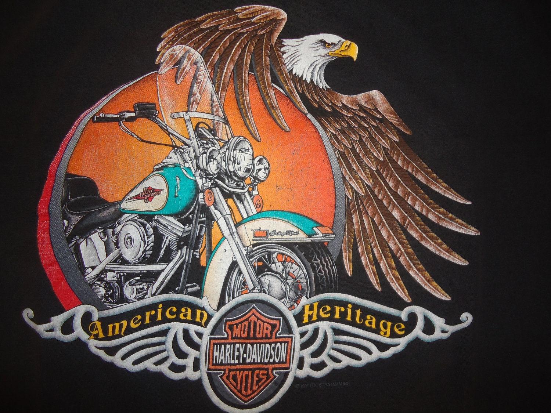 Vintage Tshirt Harley Davidson Shirt American Heritage Xl