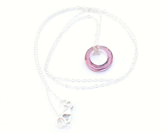 Circle Eternity Pendant Necklace Antique pink swarovski crystal