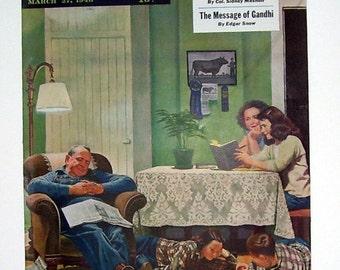 Life On The Farm Magazine Cover Only Artist John Falter 1948, Family Life, House Interior, Post Magazine, Artist Drawn, Illustration