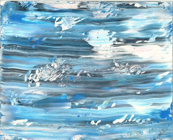 Wall Art Original Abstract Winter Blue Acrylic By Rostudios
