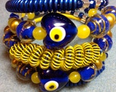 One of a kind Artistic Heart Bracelet Blue Evil Eyes Jade Venetian Glass Statement cuff CHELSEA COLLECTION