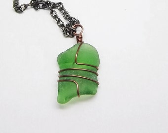 Green Beach Glass Necklace, Wire Wrapped, Gunmetal Chain, Handmade, Men's Necklace, Women's Necklace, Beach Glass, Lake Erie, Beach Jewelry