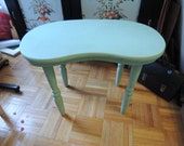 Seafoam green vintage wooden side table, vanity stool, local pick-up only in NYC