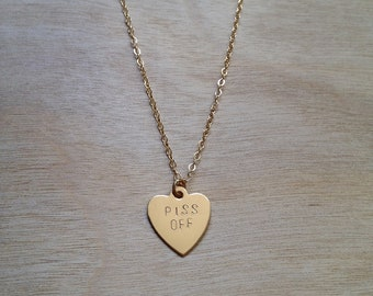 PISS OFF Heart Necklace