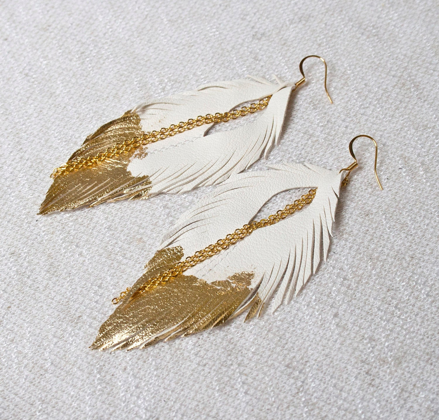 Feather Jewelry: Leather Feather Earrings. White With Gold Gilded Tip Earrings
