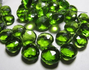 15 - pcs -Awesome Amazing Gorgeous PERIDOT Green Quartz Super Sparkle - Faceted Heart Briolett Huge Size - 10 - 12  mm Long