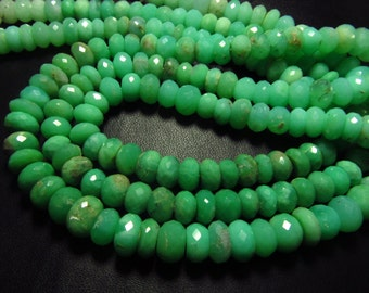 15 inches - Full Strand - Gorgeous High Quality - Green - CRYSOPHRASE - Micro Faceted Rondell Beads size 5 - 6  mm approx