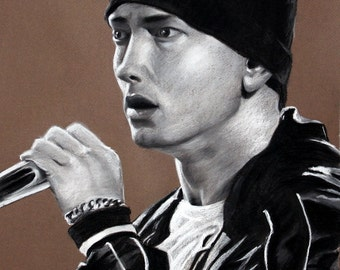 "Eminem - Marshall Mathers - SlimShady - 8""x10"" Charcoal Portrait PRINT- Rap - Hip Hop - Music"