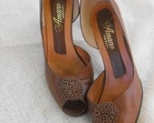 Vintage Amano 60s Shoes Peep Toe Heels Leather Elegant 6 AA