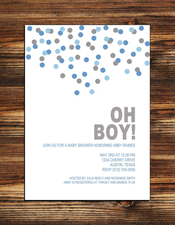 Baby Shower Oh Boy ~ Oh boy baby shower invitation digital file