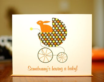 Somebunny's Having A Baby - Polka Dot Buggy New Baby Congratulations Card (100% Recycled Paper)
