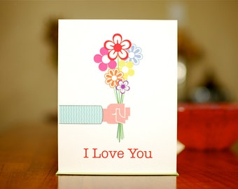 Bouquet of Love - Valentine / I Love You Card on 100% Recycled Paper