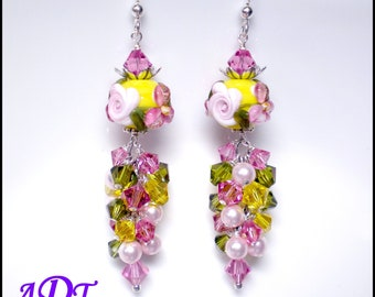 Romance Rose.. Lampwork Earrings in Yellow and Pink