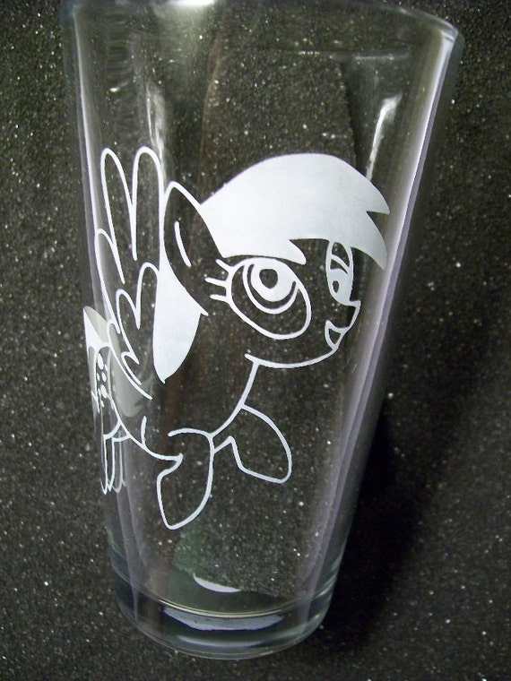 Derpy Hooves etched pint glass tumbler My Little Pony Friendship is Magic