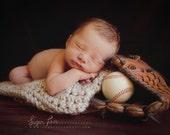Newborn photography prop Chunky baby blanket crochet photo prop bucket bowl basket  wheat  oatmeal