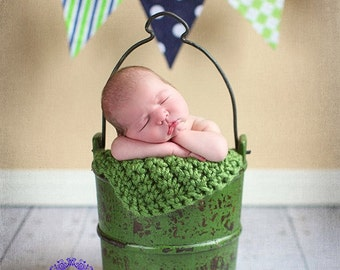 Newborn Photo Prop Blanket Newborn Baby Photography Prop chunky Blanket green