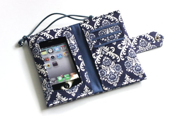 Wide Screen Touch/Handmade  Iphone / Ipod sleeve with Zippered pocket(Damask)B type