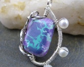 Howlite and Pearls Sterling Wrapped Pendant - Charm Turquoise Tie Dyed