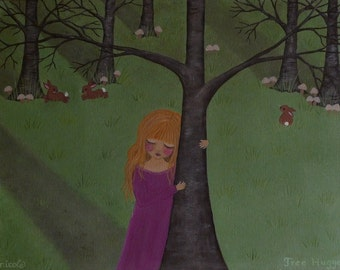 Original Painting Acrylic Blonde Little Girl Child Tree Rabbits Woods