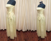 Extra Small Vintage 1970s Yellow Bridal Brides Maid Flower Girl Formal Prom Dress XS