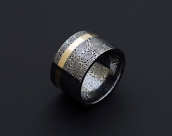 Genuine stainless Damascus Steel and 18K Yellow Gold Women Ring - Width 12mm PD57
