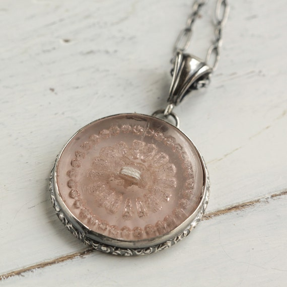 Vintage  Button  Necklace Pink Glass Sterling Silver
