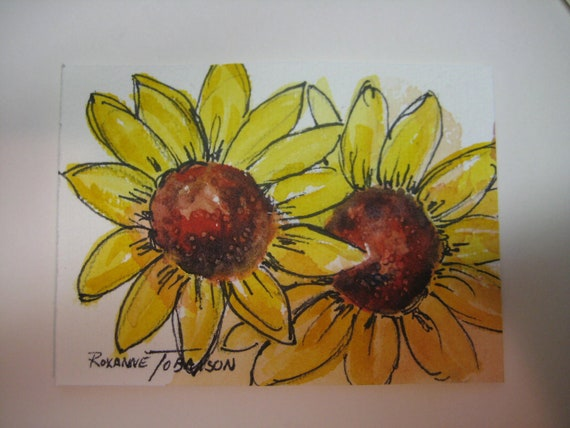 Sunflowers ACEO 294 handmade watercolorsnmore yellow sunflower collectible