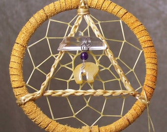 SERENITY BEAR - 3 Inch Dreamcatcher in Golden Yellow and Purple by Feathered Dreams