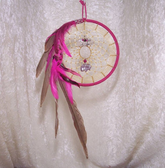 BUFFALO Dream Hoop - OOAK 7 Inch Dreamcatcher in Hot Pink by Feathered Dreams