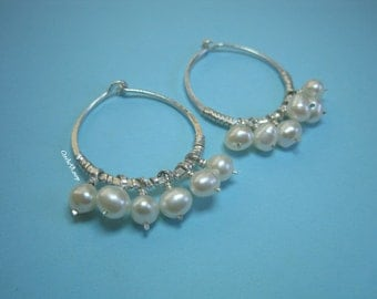"7/8"" (23mm) Sterling silver hoop wrapped with pearls earrings"