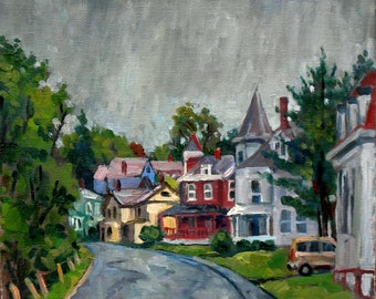 New England Rain, North Adams. Oil Painting Landscape on Canvas, 10x10 Plein Air  Impressionist Fine Art, Signed Original Cityscape