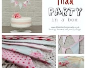 Party in a Box - TILDA - Contains Shabby Chic Bunting, Cake Bunting and Cupcake Flags - Perfect for Weddings, Showers and Parties