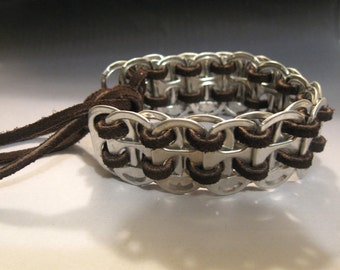 Recycled Soda Pop Can Tab Bracelet Leather Rawhide