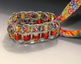 Recycled Soda Pop Can Tab Peace Bracelet Tie Dyed Ribbon Hippie