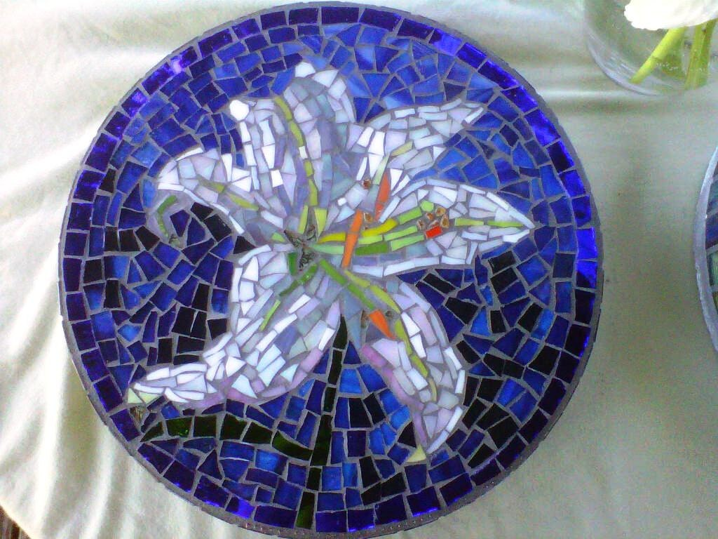 Custom designed stained glass flower mosaic garden stepping