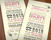 SWEET BLOOMS Birthday Party Printable Invitation in Pink, Cream Yellow, and Gray