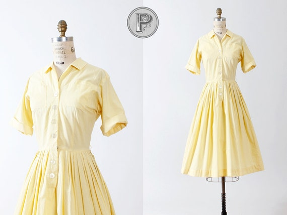 1950s dress medium / 50s dress yellow pleated : Ramona