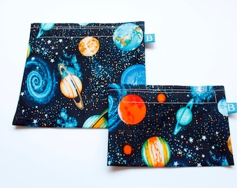 Reuseable Eco-Friendly Set of Snack and Sandwich Bags in Solar System Fabric