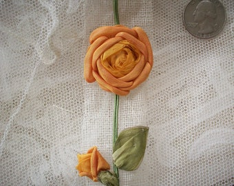 Antique ribbon work rose, authentic 1910s
